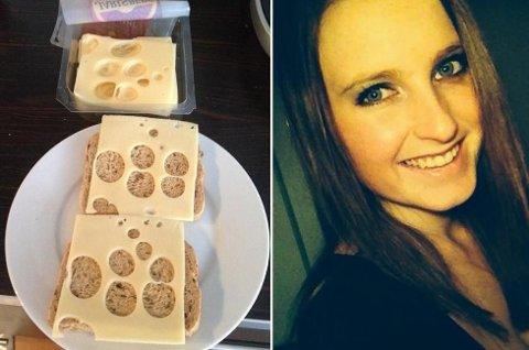 OVERRASKET: Susanne ble overrasket da hun åpnet Jarsberg-pakka. Foto: Privat