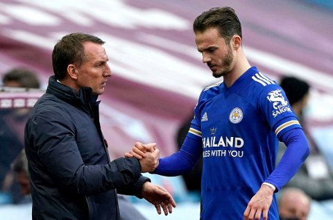 FIKK KLAR BESKJED: Leicester-manager Brendan Rodgers hadde lite til overs for festlighetene flere av spillerne hans deltok på natt til 4. april. Stjernespiller James Maddison er blant dem som fikk straff for opptrinnet.