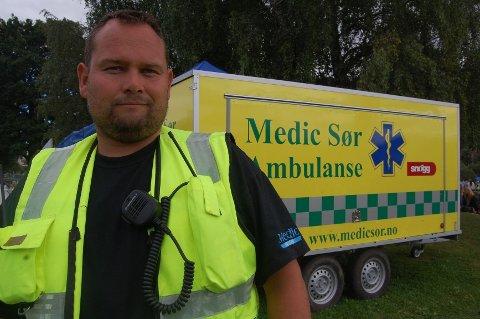 Daglig leder i Medic Sør, Frode Konnerud er på plass for å passe på alle festivaledeltakere.