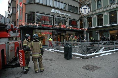 Det var en liten brann i Max-resturanten på Egertorget som førte til den store utrykningen.