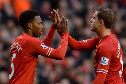 SCORET TO: Både Daniel Sturridge og Jordan Henderson scoret to må mot Swansea.