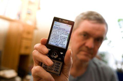 Jarl Arild Dahle sa opp abonnementet, men ble ekstra provosert da han fikk SMS fra telegiganten. Her er deler av meldingen han fikk.
