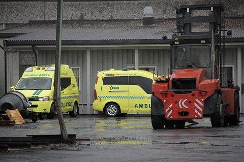 OMKOM: En mann i 50-årene omkom i en arbeidsulykke. Ifølge politiet ble mannen påkjørt av en hjullaster som flyttet flis på sagbruket.