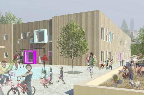 STORGÅRDEN BARNEHAGE: Høsten 2015 skal nye Storgården barnehage på Manglerud stå ferdig med fem flere avdelinger enn den gamle, men byrådet legger ikke opp til tilsvarende økning i barnehageplasser i bydelen. Et alternativ er å fylle opp de nye avdelingene med barn fra mindre barnehager, som så nedlegges. ILLUSTRASJON: Bjerg Arkitektur/Omsorgsbygg