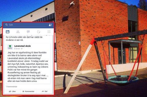 OPPFORDRING: Rektor Svein Fjellheim oppfordrer foreldrene ved Løvenstad barneskole om å ikke la ungene være i skolegården etter skoletid etter flere episoder med russen.