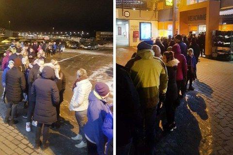 Her står køa langt ut på parkeringsplassen utenfor Amfi Pyramiden i Tromsdalen før dørene ble åpnet klokken 07.00 i dag.