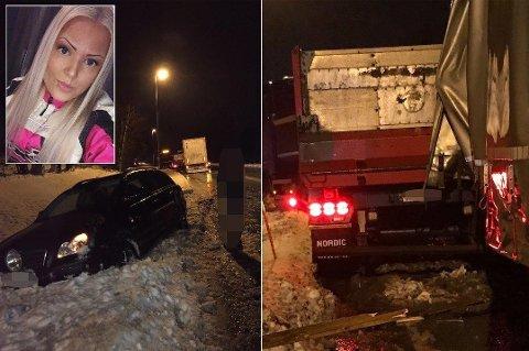 HEIV SEG I GRØFTA: Linda Rognmo heiv bilen i grøfta. Så kom hengeren på bildet til høyre skliende rett mot henne der hun sto i grøfta.