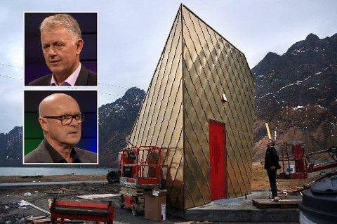 GULLDASS-DEBATT: Gunnar Stavrum, sjefredaktør i Nettavisen, og Per Ritzler, mediekontakt ved Turistvegseksjonen, diskuterte gulldassen til 3,75 millioner kroner under «Debatten» på NRK torsdag kveld.