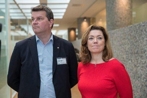 LOs leder Hans-Christian Gabrielsen og NHOs administrerende direktør Kristin Skogen Lund krangler igjen om pensjon.