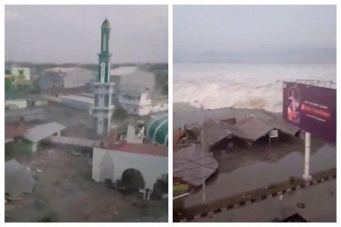 Disse bildene viser tsunamibølgen idet den treffer Palu i Indonesia 28. september.