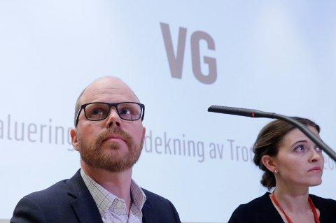 Sjefredaktør Gard Steiro og nyhetsredaktør Tora Bakke Håndlykken under VGs egen evaluering av avisas dekning av den såkalte Giske-videosaken er ferdig.