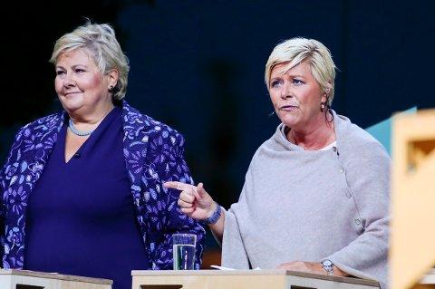 BOMPENGESTRID: Frp-leder Siv Jensen ble angrepet av bompengepartiet i partilederdebatten fra Arendal mandag kveld, mens statsminister Erna Solberg (H) lovde bompengeløsning fra regjeringen.