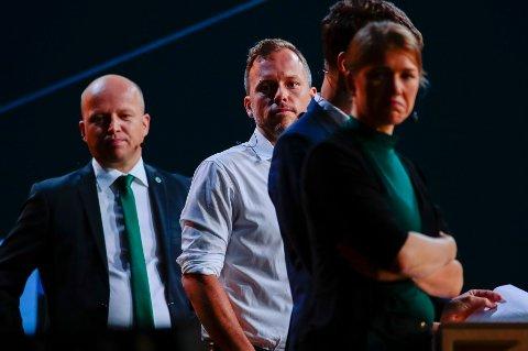 Fra partilederdebatten under Arendalsuka. Senterpartileder Trygve Slagsvold Vedum (til venstre) og MDGs stortingsrepresentant Une Bastholm (til høyre) seiler opp som hovedmotstandere i norsk politikk Foto: Håkon Mosvold Larsen / NTB scanpix