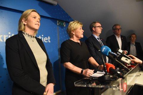 UT AV REGJERINGEN: Nestleder Sylvi Listhaug, Frp-leder Siv Jensen, nestleder Terje Søviknes og parlamentarisk leder Hans Andreas Limi.