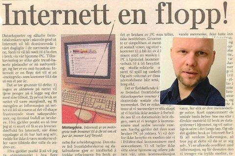 Faksimile Dagens Næringsliv, 20. august 1996. Kommentator Espen Bless Stenberg (innfelt).