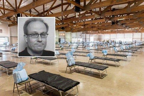 Bildet viser et amerikansk provisorisk sykehus som skal avlaste sykehuskapasiteten i delstaten Oregon når konsekvensene av koronautbruddet virkelig slår ut for alvor. Sykehuset er satt opp av det amerikanske sivilforsvaret. Den danske professoren Allan Randrup Thomsen (innfelt) sier det finnes et håp om at koronaviruset kan mutere til en mindre farlig variant.