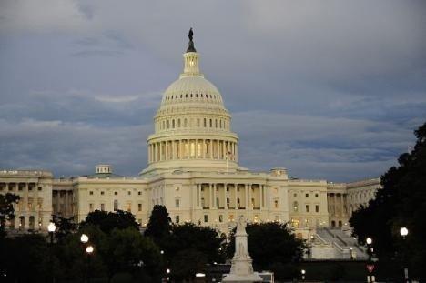 Kongress-bygningen på Capitol Hill i Washington der Representantenes Hus og Senatet holder til.