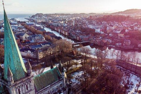 Dronebilder av Trondheim sentrum. Foto: Gorm Kallestad / NTB