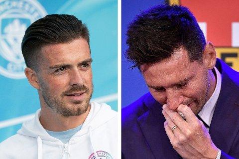 LIGNENDE FØLELSER: Jack Grealish (til venstre) ble klar for Manchester City samme dag som Barcelona kunngjorde at Lionel Messi forlater dem. Førstnevnte sier han kjenner seg igjen i Messis tunge avskjed.