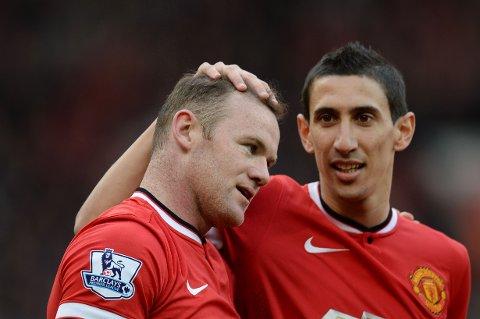 FLOPP: Angel DI Maria (høyre) ble aldri noen suksess i Manchester United. Her sammen med klubbhelt Wayne Rooney.