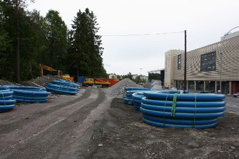 RIGGOMRÅDE: Oslo Vei har innstallert seg på tomten i Cecilie Thoresens vei ved Lambertseter senter.