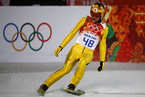 KUNNE BLITT HISTORISK: 41 år gamle Noriaki Kasai fra Japan var 1,3 poeng unna å bli historiens eldste OL-gullvinner for herrer i en vinteridrett.