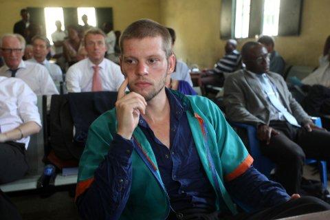 DOMMEDAG: Joshua French avbildet under domsavsigelsen i Ndolo-fengselet i Kinshasa onsdag.