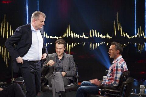 Opptak av programmet «Skavlan» ble gjort i Stockholm torsdag. Erik Røste, Fredrik Skavlan og Anders Aukland.