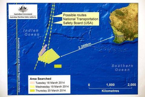 HAR GJORT FUNN: Australske myndigheter skal ha funnet deler som kan stamme fra det savnede flyet. Området er markert på kartet.