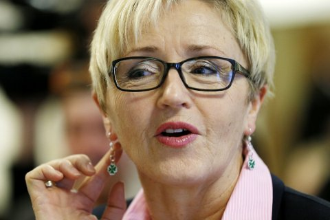 Avtroppende leder i Senterpartiet Liv Signe Navarsete under landsstyremøtet i Senterpartiet 2014.