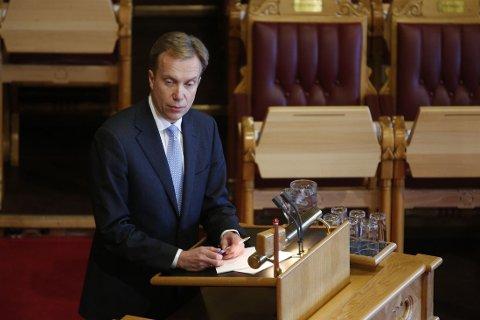 Utenriksminister Børge Brende (H) under en tidligere spørretime i Stortinget.