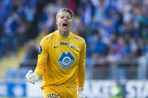 VANT: Moldes keeper Ørjan Håskjold Nyland slapp jubelen løs da dommeren blåste av kampen mellom Molde og Viking på Aker Stadion.