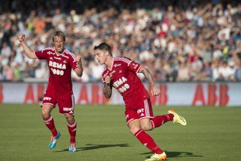 SCORET: Nicki Bille Nielsen scoret Rosenborgs mål på Marienlyst.