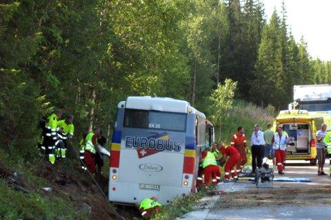 Tre personer omkom da en turbuss fra Sveits kjørte av E6 og inn i en bergvegg tirsdag. Nå er sveitsiske redningstjenester på plass.