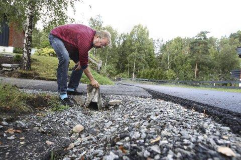 IKKE FORNØYD: Sølve Fjerdingstad er ikke imponert over kommunen, når det gjelder jobben som er gjort i Plogsvingen.
