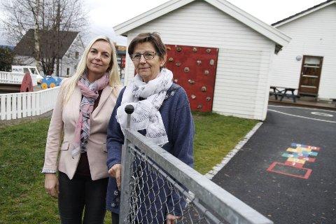Styreleder Gunhild Melhuus Birkemoe og styrer Elisabeth Larsen i Godlia barnehage har vanskelig for å se hvordan de kan drive en foreldreeid, nullprofitt-barnehage med den økte tomtefesteavgiften.