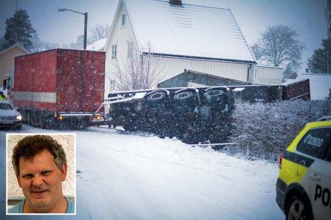 Meteorolog Kristen Gislefoss kommenterer snøkaos. Det er vanskelige kjøreforhold på Østlandet torsdag, hengeren på en lastebil i Askim veltet inn i en hage på den glatte veien.