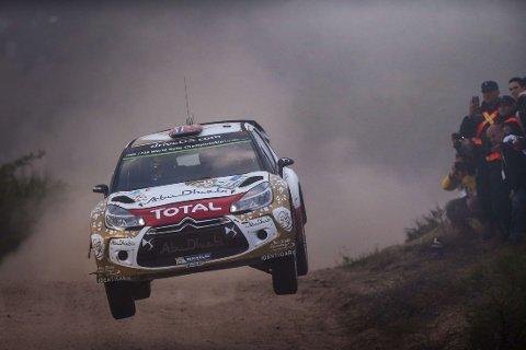 ULYKKE: Bildet viser Mads Østberg i hans Citroën DS3 i Rally Argentina, et rally som er preget av ulykken der seks tilskuere ble skadd på lørdag.