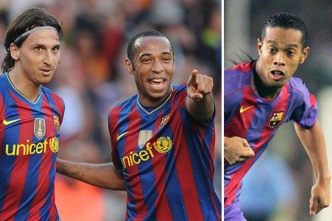NÅR IKKE OPP: Verken Zlatan Ibrahimovic, Thierry Henry eller Ronaldinho når opp til Neymar og Luis Suarez, mener Lionel Messi