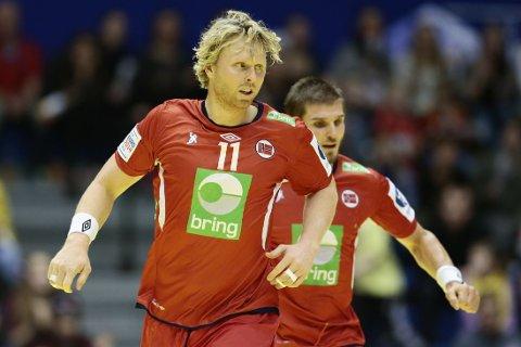 PÅ VEI TIL TYSKLAND: Erlend Mamelund, her i landslagsdrakta under en kamp mot Spania, er på vei til tysk håndball.