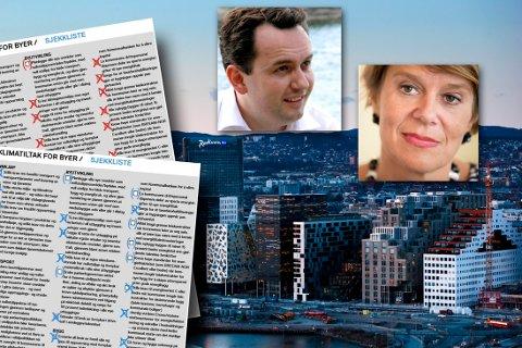 Byrådsleder Stian Berger Røsland (H) og Tone Tellevik Dahl har krysset av sine punkter i ZEROs klimatiltaksliste for byer. Grafikk: Astrid Helen Holm
