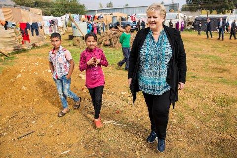 I LIBANON: Lørdag besøker Erna Solberg en flyktningeleir i Libanon.