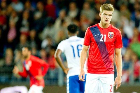 SCORET I DEBUTEN: Alexander Sørloth, her i den norske U21-landslagstrøya, scoret i debuten for Groningen på søndag.