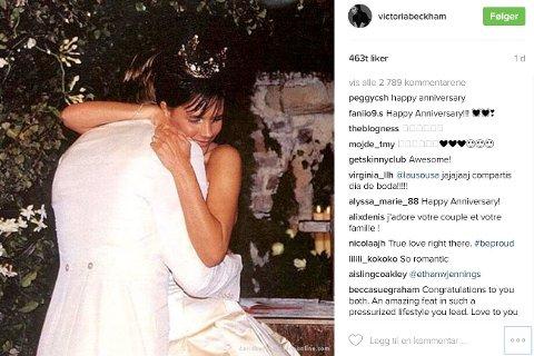BRYLLUPSDAG: Victoria og David Beckham har vært gift i 17 år.