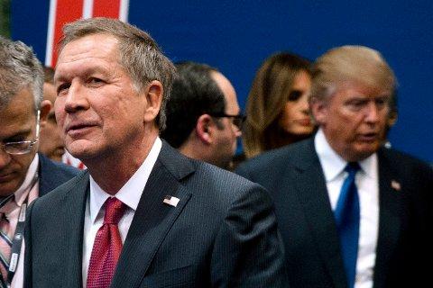 JOHN KASICH (til venstre) boikotter landsmøtet i sin egen hjemstat Ohio fordi han er sterkt imot Donald Trumps politiske syn.