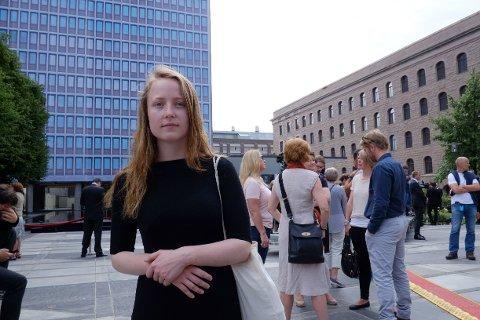 Agnes Viljugrein, fylkesleder i Oslo AUF, var en av dem som leste opp navnene på alle de 77 som mistet livet under terrorangrepene for fem år siden.