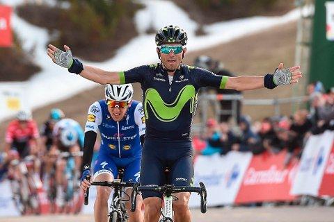 SAMMENLAGTLEDER: Movistars Alejandro Valverde, her fra den tredje etappen av Volta Catalunya, overtok sammenlagtledelsen i rittet etter fredagens etappe.