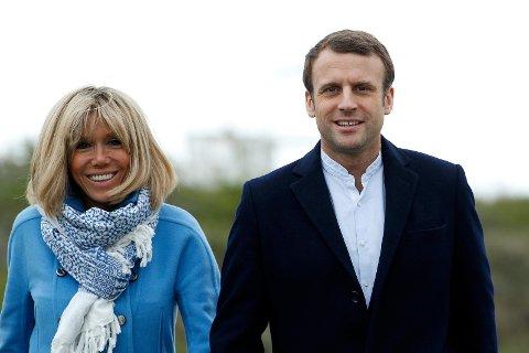Emmanuel Macron og kona Brigitte Trogneux.