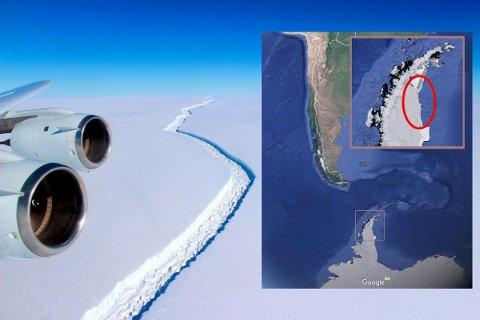 LØSNET: En 200 kilometer lang sprekk har delt isflaket fra resten av isbremmen sør for Sør-Amerika.