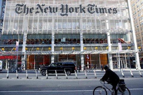 New York Times er blant flere amerikanske medier som opplever oppgang etter valget i USA. Her fra mediehusets hovedkvarter i New York.